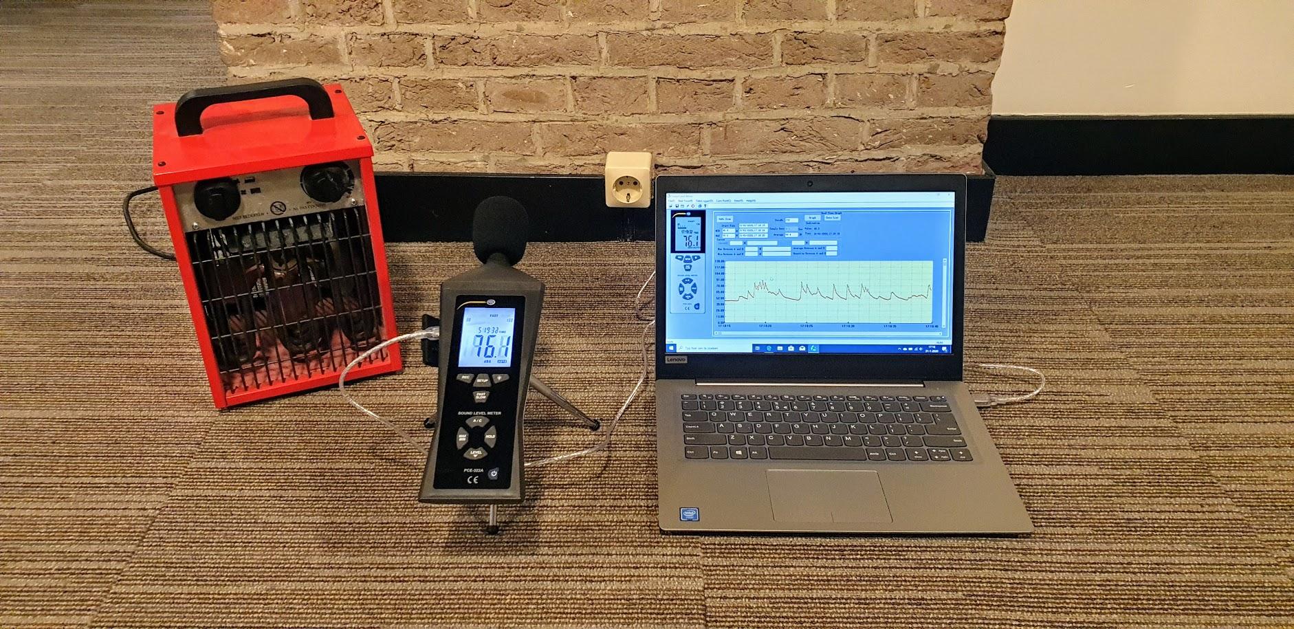 Decibelmeter voor geluidsmeting door bewijsrapportage